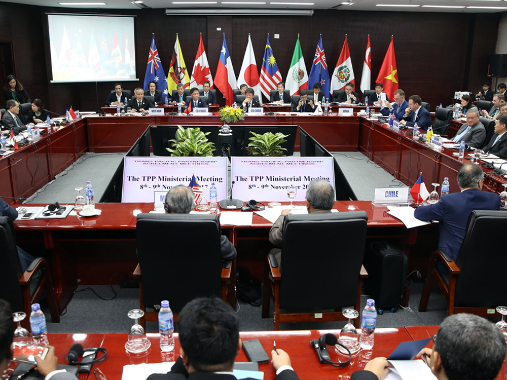 Trade ministers and delegates from the remaining members of the Trans-Pacific Partnership work toward a deal in Danang, Vietnam on Nov. 9, 2017