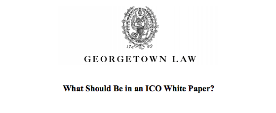 Chris Brummer's testimony regarding what should be included in an ICO white paper