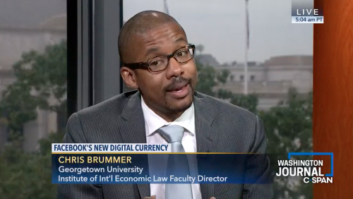 Dr. Chris Brummer speaks about Facebook's new digital currency on Washington Journal C-Span segment