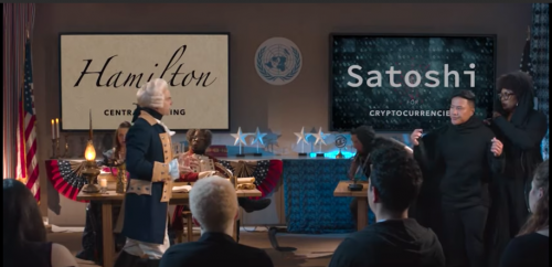 Alexander Hamilton and Satoshi Nakamoto engage in a rap battle standing across from each other in front of an audience