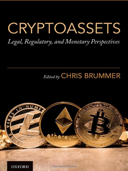 "An image of a cover of a the book ""Cryptoassets"", which features golden bitcoins and the text ""edited by Chris Brummer"""