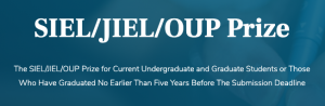 "White text on a navy blue background that reads ""that SIEL/JIEL/OUP Prize """